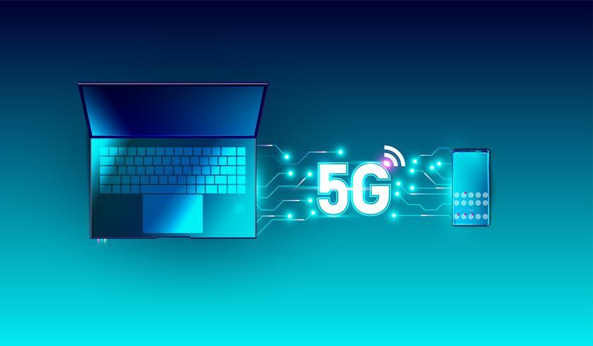 Neue Hochgeschwindigkeitsinnovationsverbindungs-Datenratentechnologie des globalen Netzwerks 5G, 5. drahtlose Internet wifi-Verbindung auf Draufsichtvektor des Smartphone- und Laptopgeräts vektor