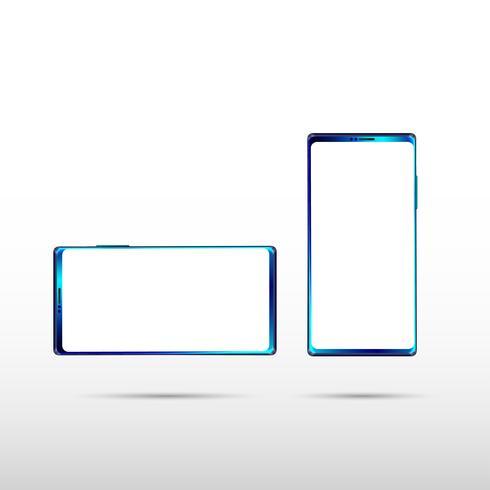 Modern isolerad Smartphone på vit bakgrund, perfekt midnatt blå färg på mobiltelefon mockup. Vektor