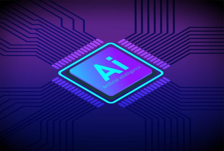 Vektor av CPU Artificial Intelligence framtida teknik isometrisk platt koncept.