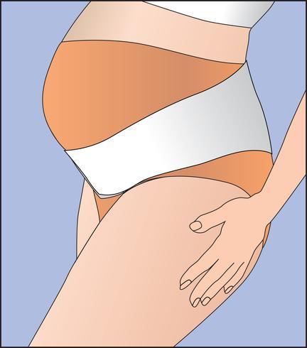 Schwangere Frauen, die Verband tragen. Unterwäscheband zur Unterstützung des Bauches. vektor