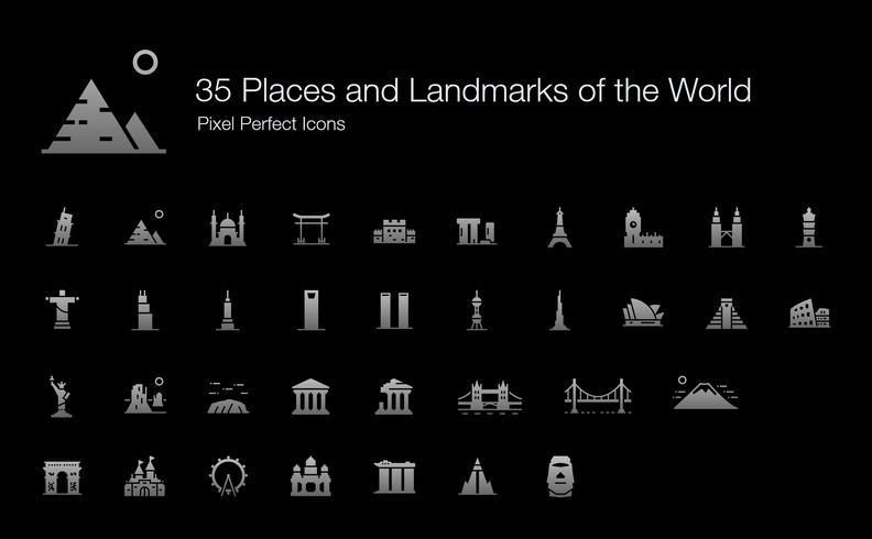 35 Orte und Sehenswürdigkeiten der Welt Pixel Perfect Icons (Filled Style Shadow Edition). vektor