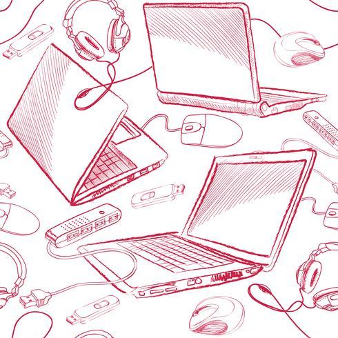 Laptop sömlöst mönster Datoranslutning bakgrund. vektor