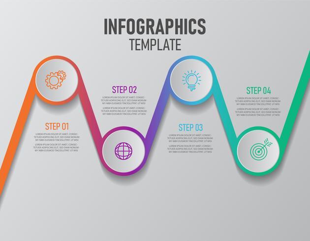 Bunte Infografiken Elemente mit Schritten für das erfolgreiche Geschäft vektor