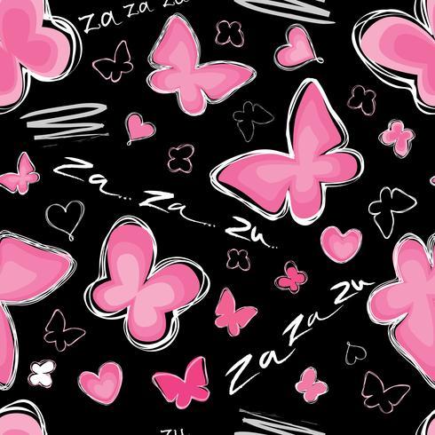 Hjärta, fjäril sömlös mönster Alla hjärtans dag semester kakel prydnad vektor