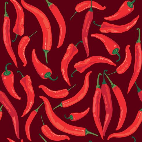 Peppar sömlöst mönster. Hot spice matrediens vegetabilisk bakgrund vektor