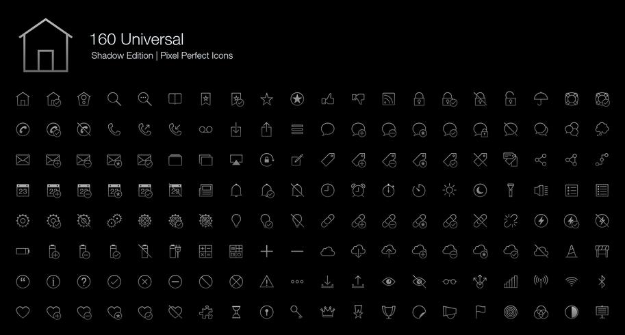 Universal Pixel Perfect Icons (Linienstil) Shadow Edition. vektor