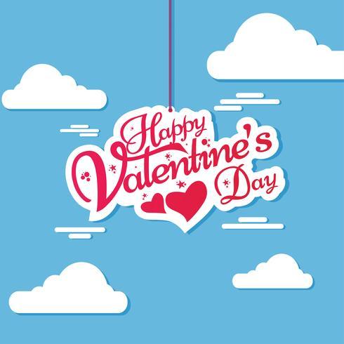 Lycklig valentins dag bokstäver inbjudningskortdesign vektor