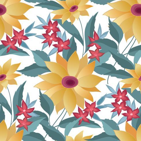 Blommor sömlöst stilfullt mönster. Vårblomma bakgrund vektor