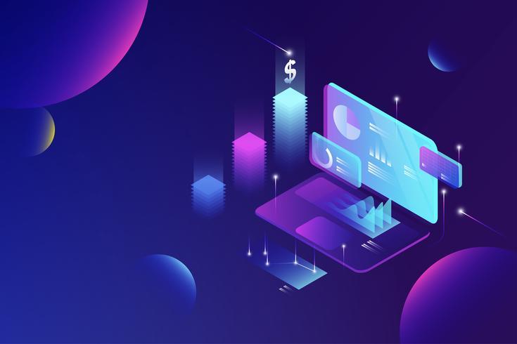 Online ekonomisk dataanalys isometrisk koncept, ekonomisk rapport, företagsstatistik, affärsplanering och investeringar för webbmalldesignvektor vektor