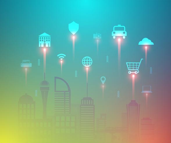 Intelligente Stadt und Internet von Sachen mit sich hin- und herbewegendem Ikonenvektor. vektor