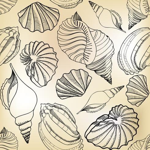 Muschel nahtlose Muster. Sommerurlaub Marine Hintergrund. vektor