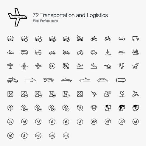 72 Transport und Logistik Pixel Perfect Icons Line Style. vektor