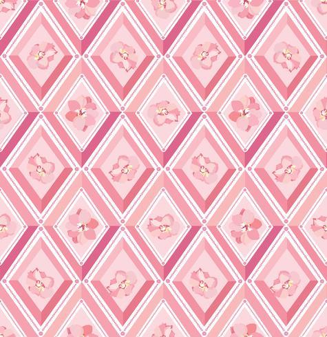Blumenmuster Flourish deckte Hintergrund mit Ziegeln. Diamant Linie Ornament vektor