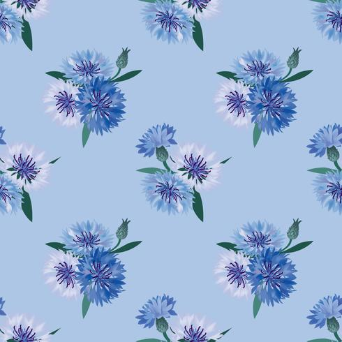 Nahtlose Blümchenmuster Blumenkornblumen-Strudelhintergrund. vektor