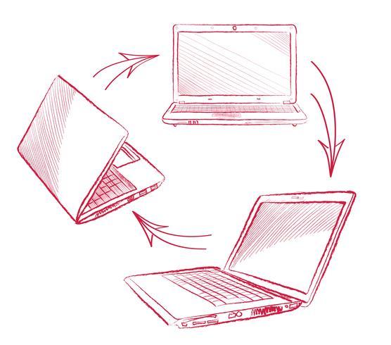 Bärbar dator Datoranslutning koncept. Socialt samarbete tecken vektor