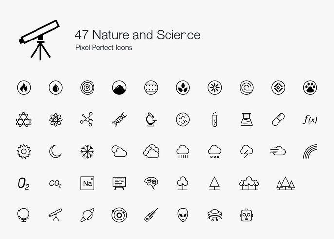 47 Natur und Wissenschaft Pixel Perfect Icons Line Style. vektor