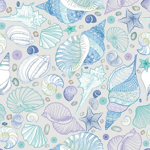 Seashell sömlöst mönster. Sommarlov marin bakgrund vektor