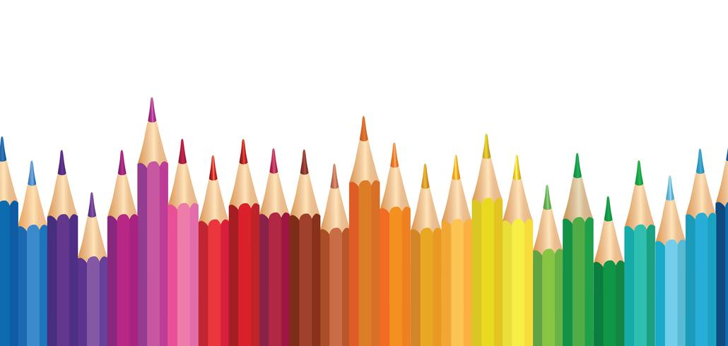 Wachsmalstift Hintergrund. Nahtloses Grenzmuster des bunten Bleistifts. vektor
