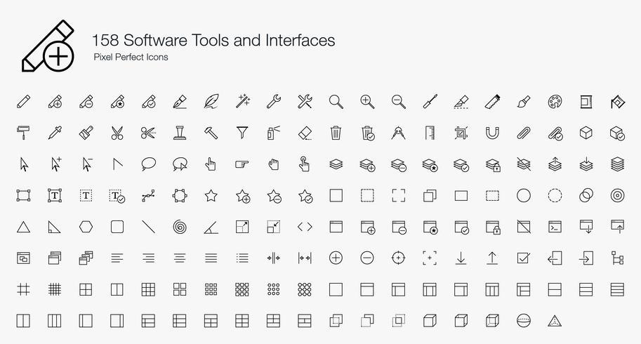 158 Software-Tools und -Schnittstellen Pixel Perfect Icons Line Style. vektor