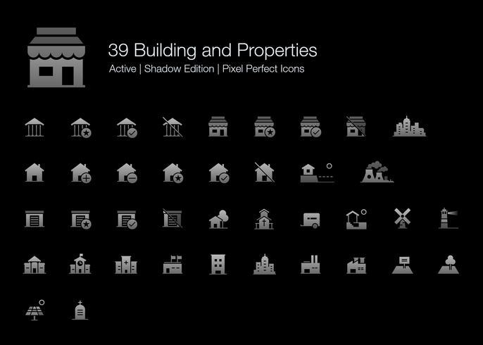 39 Gebäude und Eigenschaften Pixel Perfect Icons (Filled Style Shadow Edition). vektor