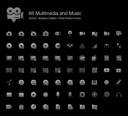 68 Pixelperfekte Symbole für Multimedia und Musik (Filled Style Shadow Edition). vektor