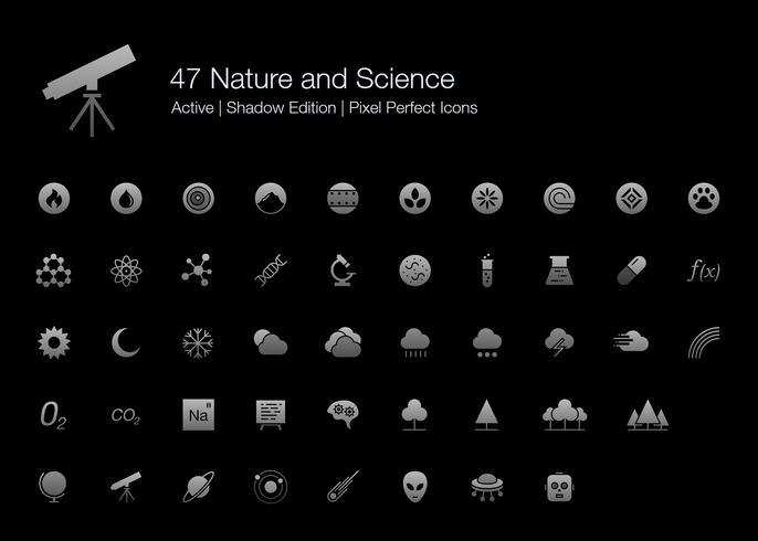 47 Natur och Vetenskap Pixel Perfect Ikoner (Filled Style Shadow Edition). vektor