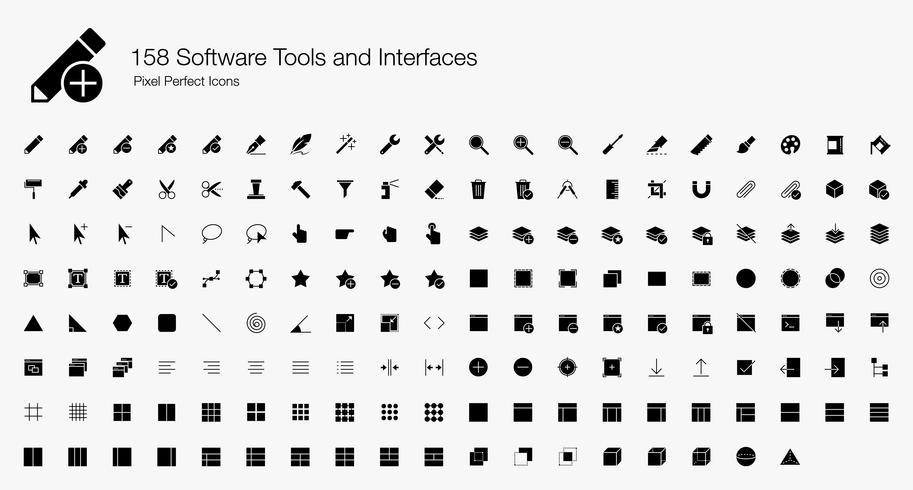158 Softwaretools und Schnittstellen Pixel-Perfect-Icons (gefüllter Stil). vektor