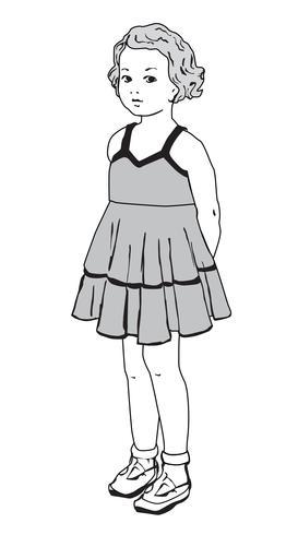 Barnporträtt. Olycklig flickvän i retro mode sommarklänning isolerad vektor