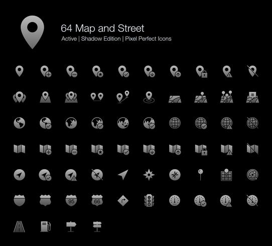 64 perfekte Symbole für Karten- und Straßenpixel (Filled Style Shadow Edition). vektor