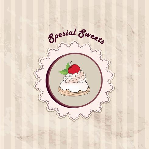 Kuchen. Cafe Menühintergrund. Bäckerei-Label. Süßes, Nachtisch-Plakat vektor