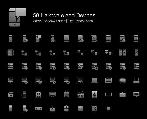 58 Hårdvara och enheter Pixel Perfect Ikoner (Filled Style Shadow Edition). vektor