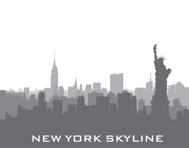 Skyline von New York, USA. Amerikanisches Stadtschattenbild, Freiheitsdenkmal vektor