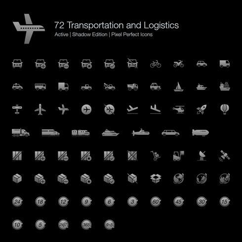 72 Transport- und Logistik-Symbole für Pixel Perfect (Filled Style Shadow Edition). vektor