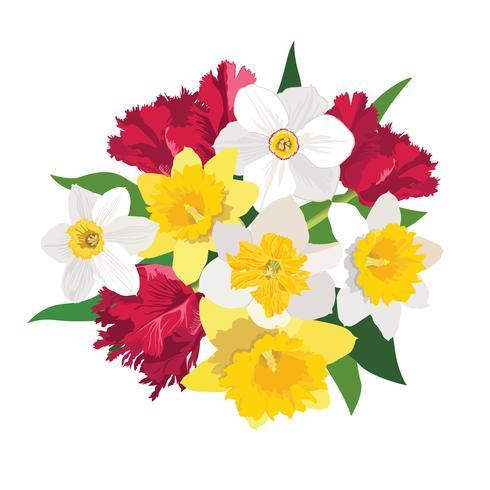 Blumenstrauß. Blumenrahmen Blühen grußkarte. Sommer-Dekor vektor
