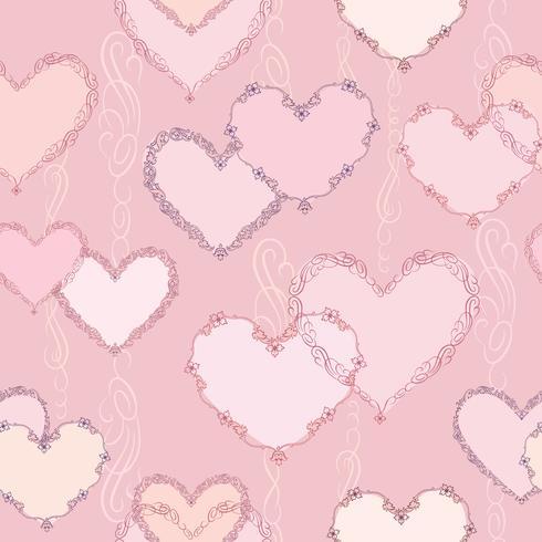Line art lve hjärtan sömlös mönster. Alla hjärtans dag ornament vektor