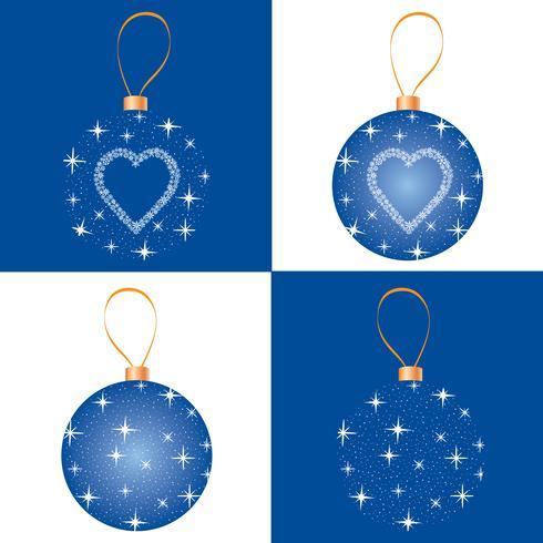 Julgransuppsättning. Hälsningskortdesign. Snowflake ball dekor vektor