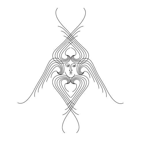 Ängel. Handritad religiös symbol. Ärkeängel med vingarikon vektor