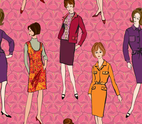 Vintageklädda tjejen 1960-talets stil. Retro mode parti sömlöst mönster. vektor
