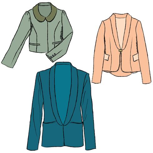Mode tuch set frauen jacke kleidung weibliche pullover winterkleidung vektor