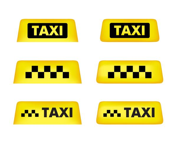 Taxi Autodach Zeichen. Icon-Set Vektor