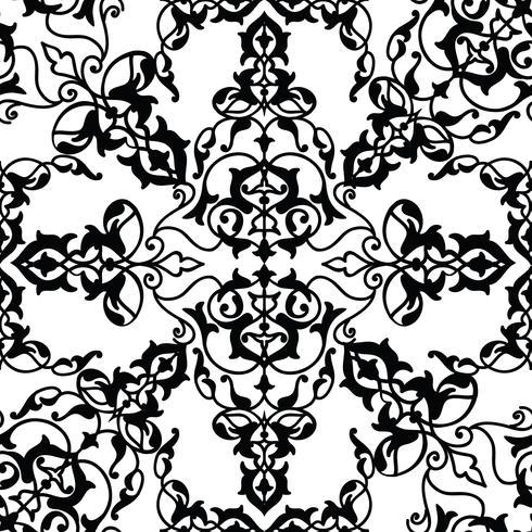 Arabisk blommig virvellinje prydnad. Oriental blomma sömlöst mönster vektor