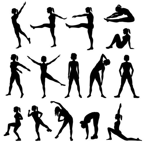 Elegant kvinnosilhouette gör träningsövning. Fitness club set vektor
