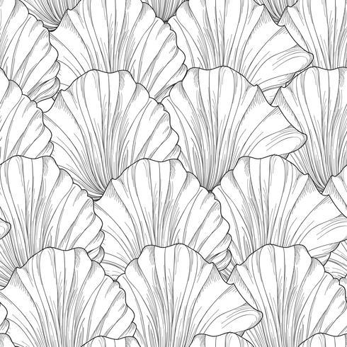 Blomlösa sömlösa mönster, inristade blomblad. Blommig textur vektor