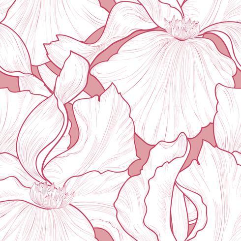 Blommigt sömlöst mönster. Blomma kronblad gravyr bakgrund. vektor