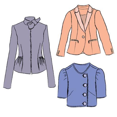 Mode tyg uppsättning Kvinnor jacka kläder Kvinnliga tröjor vinterkläder vektor