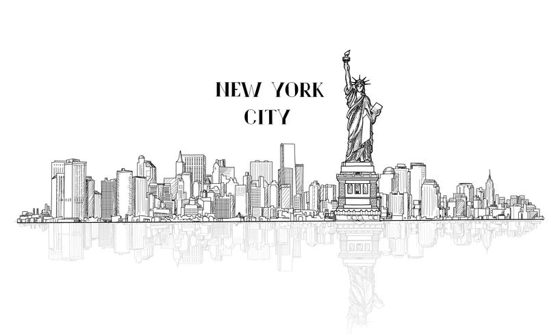 New York, USA skyline city silhouette med Liberty monument vektor