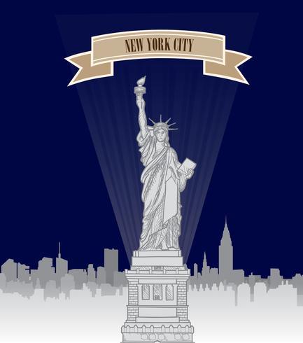 New York City, USA skyline. Amerikanska staden, Liberty monument vektor