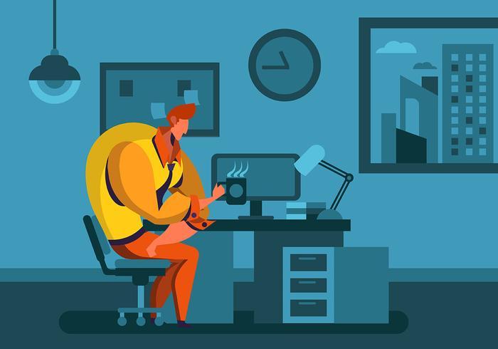 Man arbetar övertid på natten vektor