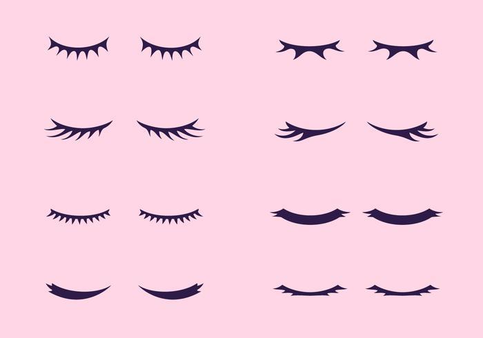 Vackra ögonfransar Clipart Set vektor