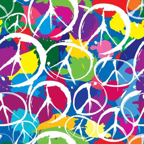 nahtloses Muster mit mehrfarbigen Symbolen des Friedens vektor